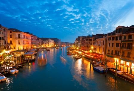 Grand Canal bij zonsondergang, Venetië, Italië Stockfoto