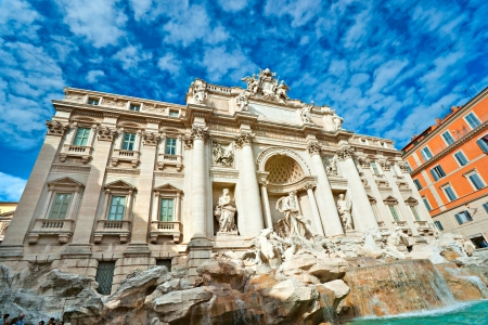 Wide angle view of The Famous Trevi Fountain, rome, Italy  photo