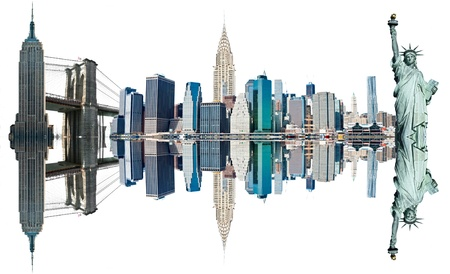 New York City Landmarks, USA  Isolated on white