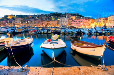 View of Portoferraio old city, with the Forte Stella and the Napoleon Villa Isle of Elba, Livorno, Italy