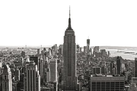 view window: Aerial view of Manhattan, New York City  USA  Stock Photo