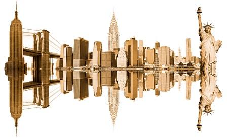 New York City Landmarks, USA. Isolated on white. photo