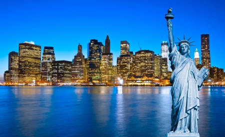new york buildings: Manhattan Skyline and The Statue of Liberty at Night, New York City Stock Photo