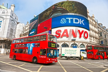 tdk: LONDON - MARCH 18 View of Piccadilly Circus on March 18, 2011 in London  Famous advertisements of TDK and Sanyo have been here for at least 20 years and are considered symbols of famous square