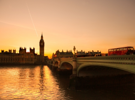 The Big Ben, the House of Parliament and the Westminster Bridge at night, London, UK. Stock Photo - 16628327