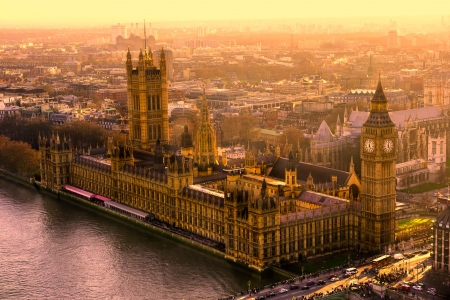 britannia: The Big ben and the Houses of parliament, London, UK  Stock Photo