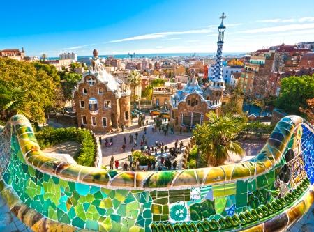 Park Güell in Barcelona, ??Spanien Editorial
