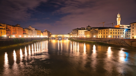 Panoramic view of Ponte Vecchio after sunset, Florence  Tuscany  photo