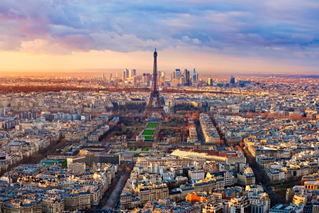 Aerial view of Paris at sunset photo