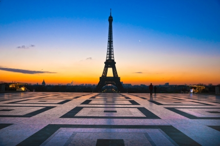 trocadero: View of the Eiffel tower at sunrise, Paris  Stock Photo