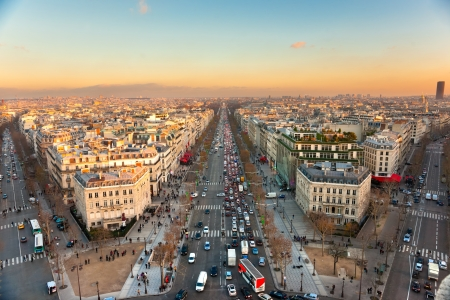 View from Arc de triomphe of Champs elysees, Paris. photo