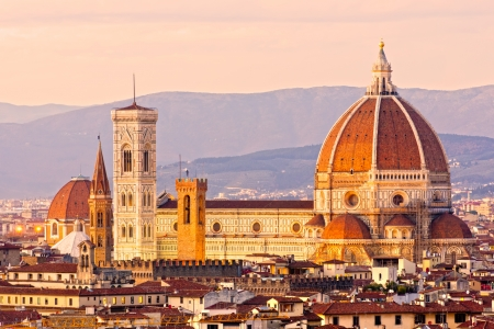 bell tower: Florence, view of Duomo and Giottos bell tower,  from Piazzale Michelangelo. Italy. Stock Photo