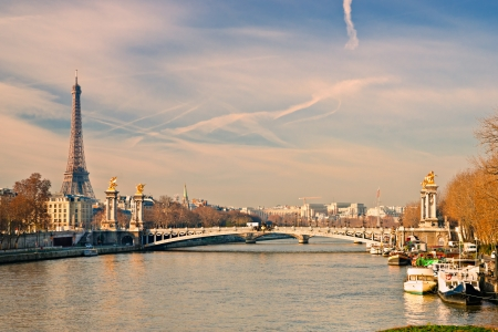 View of the Tour Eiffel and Alexandre III bridge, Paris - France photo