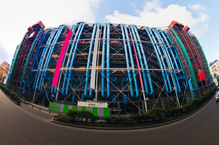 georges: Fish-eye view of The Pompidou cultural center in Paris, France