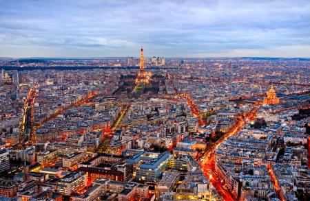 la defense: Aerial view of Paris at night, France.
