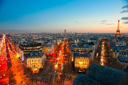 champs elysees quarter: View from Arc de triomphe, Paris. Editorial