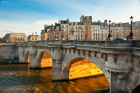 seine: Pont neuf, Ile de la Cite, Paris - France Stock Photo