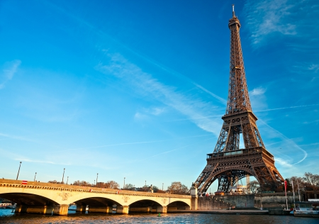 eiffel tower: View of the Eiffel tower at sunrise, Paris. Stock Photo