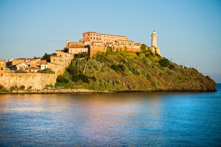 View of Portoferraio old city, with the Forte Stella and the Napoleon Villa. Isle of Elba, Livorno, Italy. Stock Photo - 17243442
