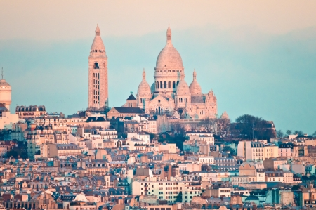 View of Paris with Basilica of sacre Coeur. photo