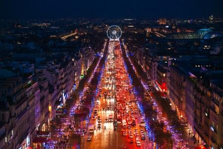 View from Arc de triomphe of Champs elysees, Paris
