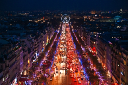 View from Arc de triomphe of Champs elysees, Paris  photo