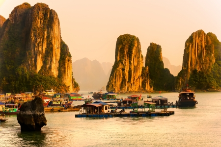 the long lake: Halong Bay, Vietnam. Most popular place in Vietnam.