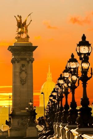 la tour eiffel: View of Les Invalides and Alexandre III bridge at sunset, Paris - France