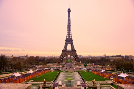 cityscape silhouette: View of the Eiffel tower at sunrise, Paris. Editorial