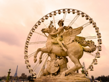 champs elysees quarter: Place de la Concorde at sunset with the panoramic wheel, Paris - France Editorial