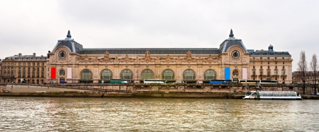 Orsay Museum, view from the right bank of the Seine river. Paris.