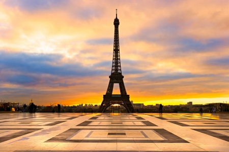 trocadero: View of the Eiffel tower at sunrise, Paris. Stock Photo