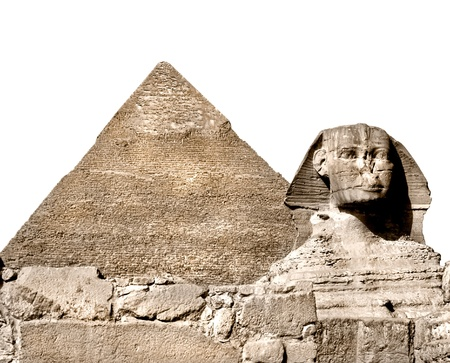 Sphinx: The Sphinx and the great pyramid, Giza, Egypt  Isolated on white  Stock Photo