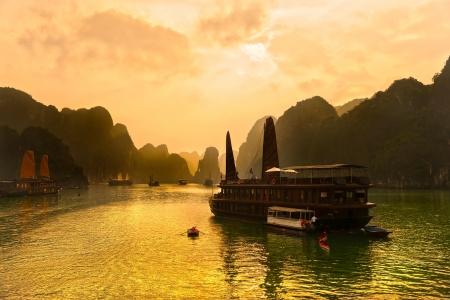 vietnam flag: Halong Bay, Vietnam  Unesco World Heritage Site  Most popular place in Vietnam  Stock Photo