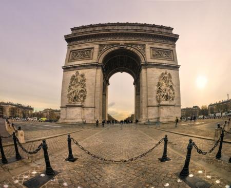 napoleon fish: Paris, fish-eye view of the Arc de Triomphe  Editorial