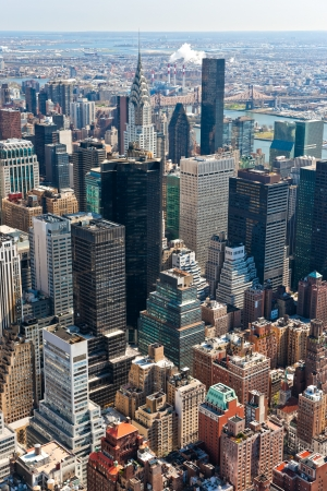 high life: Aerial view of Manhattan, New York City  USA  Stock Photo