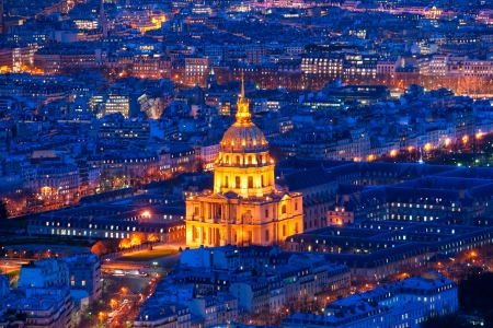 Aerial view of Paris at night, France