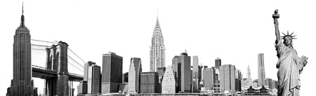 New York City Landmarks, USA  Isolated on white  photo