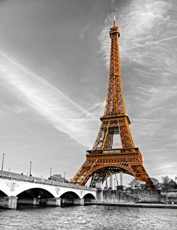 eiffel: View of the Eiffel tower at sunrise, Paris  Editorial