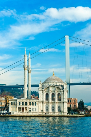 Ortakoy mosque and Bosphorus bridge, Istanbul, Turkey  photo