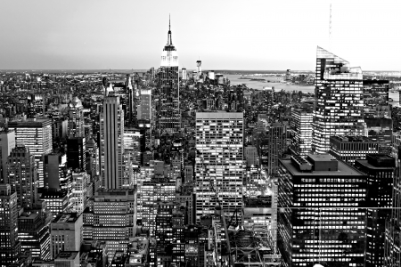 black and white: Aerial view of Manhattan, New York City  USA  Stock Photo