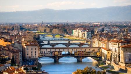 ponte vecchio: Panoramic view of Florence and Ponte Vecchio.
