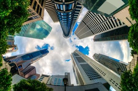 Fish-eye view of Singapore city skyline.