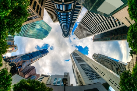 esplanade: Fish-eye view of Singapore city skyline.