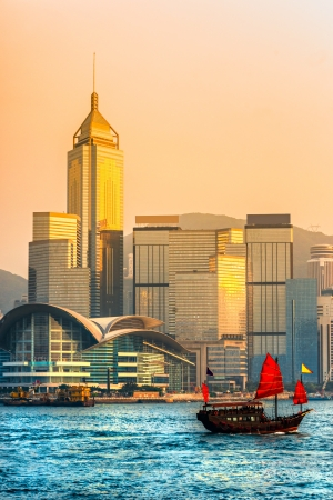 Hong Kong Harbour at sunset.