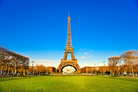 View of the Eiffel tower at sunrise, Paris. Stock Photo