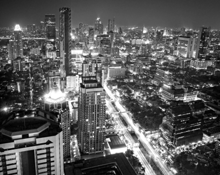 technoligy: Bangkok skyline, Thailand. Stock Photo