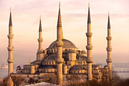 arabic architecture: The Blue Mosque, (Sultanahmet Camii), Istanbul, Turkey. Stock Photo