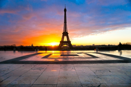 water tower: View of the Eiffel tower at sunrise, Paris. Stock Photo