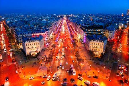 elysees: View from Arc de triomphe of Champs elysees, Paris. Stock Photo